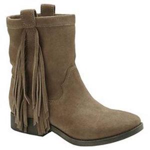 70 Post Paris LEATHER Ankle Fringe Boots, Tan